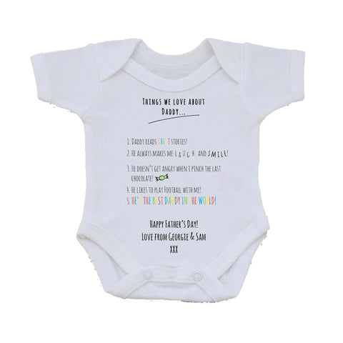 FD11 - Things we Love about Dad Personalised Father's Day Baby Vest