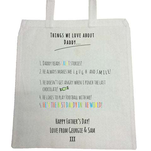 FD11 - Things we Love about Dad Canvas Bag for Life