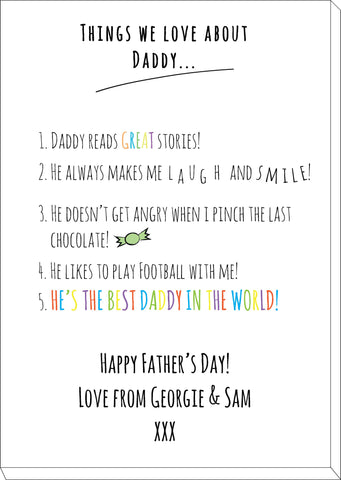 FD11 - Things we love about Dad Personalised Canvas