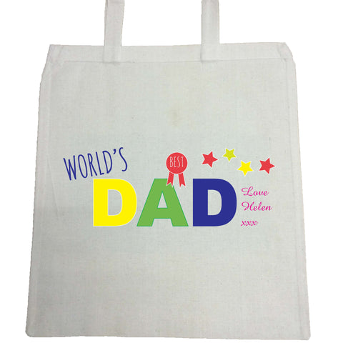 FD12 - World's Best Dad Personalised Canvas Bag for Life
