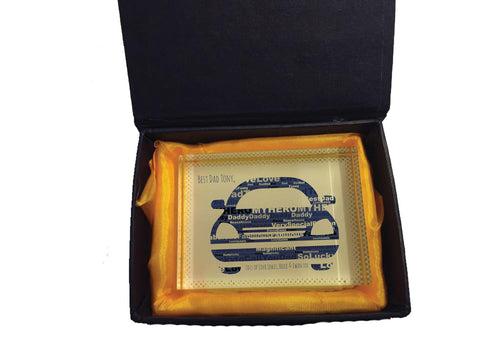 FD13 - Personalised Front of Car Word Art Dad Crystal Block with Presentation Gift Box