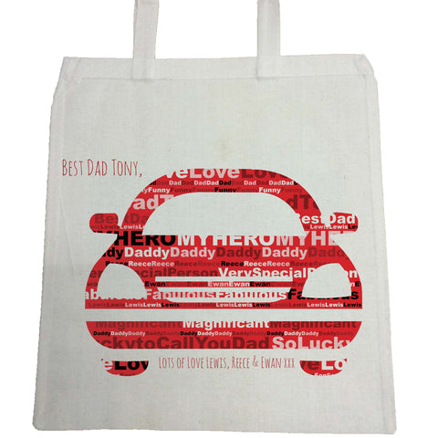 FD13 - Front of Car Word Art Dad Canvas Bag for Life