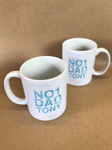 FD14 - No1 Dad Word Art Mug & White Gift Box