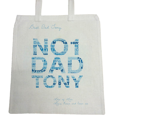 FD14 - No.1 Dad Word Art Personalised Canvas Bag for Life