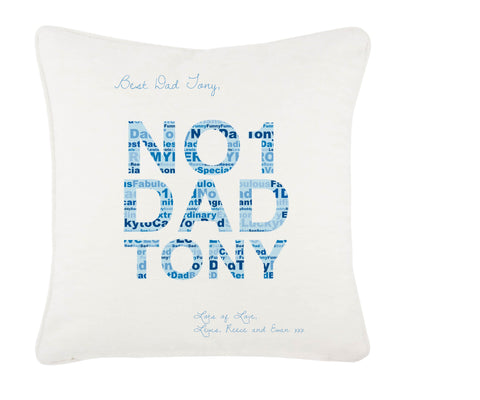No 1 Dad Word Art Personalised Cushion Cover