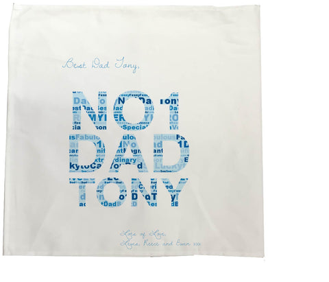 FD14 - No 1 Dad Word Art Personalised Tea Towel