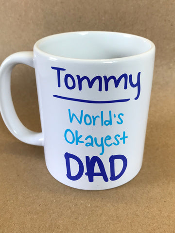 FD18 - World's Okayest Dad Personalised Mug & White Gift Box