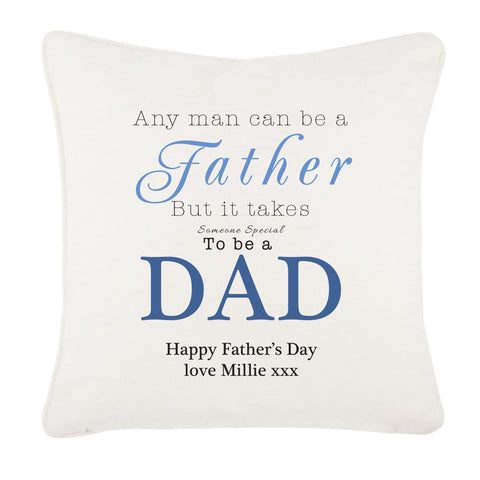 FD01 - Any Man Can Be A Father, Father's Day Personalised Cushion Cover
