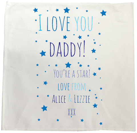 FD03 - I Love You Daddy (Stars), Father's Day Personalised Tea Towel
