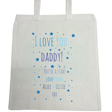 FD03 - I Love You Daddy (Stars), Father's Day Canvas Bag for Life