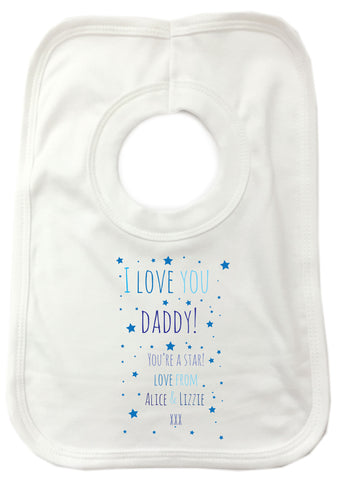 FD03 - I Love You Daddy (Stars), Father's Day Baby Bib