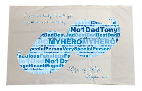 FD07 - Moustache Wordart Personalised Pillow Case