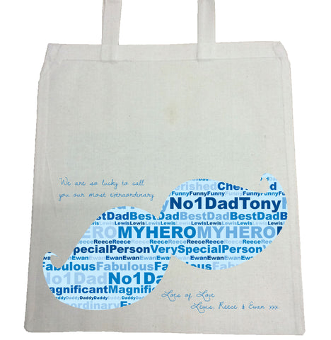 FD07 - Moustache Word Art Personalised Canvas Bag for Life