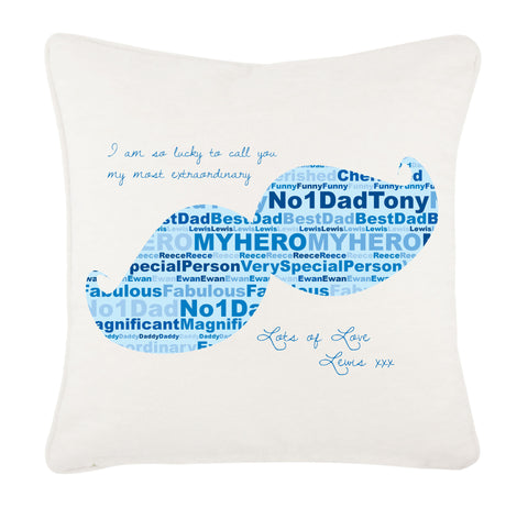 FD07 - Moustache Wordart Personalised Cushion Cover