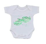 FD07 - Dad, Father, Grandad Moustache Shaped Word Art Personalised Baby Vest