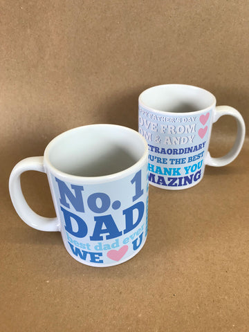 FD08 - No 1 Dad Personalised Mug & White Gift Box for amazing dads, step dads and grandads
