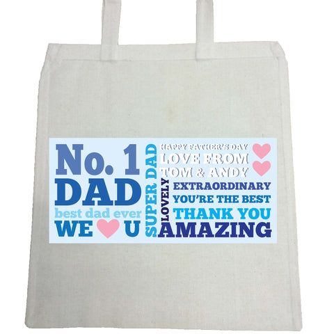 FD08 - No.1 Dad Personalised Canvas Bag for Life for amazing dads, stepdads and grandads