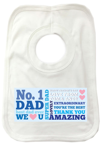 FD08 - No.1 Dad Personalised Baby Bib for all amazing dads, stepdads and grandad