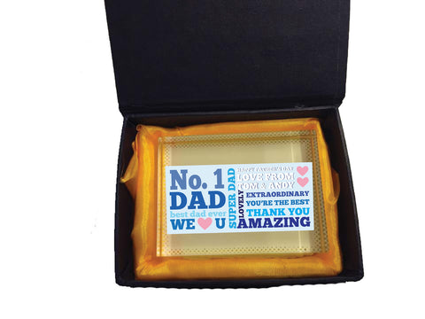 FD08 - No.1 Dad Personalised Crystal Block with Presentation Gift Box