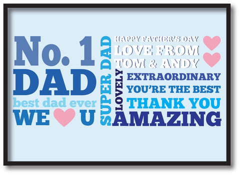 FD08 - No.1 Dad Personalised Print for amazing Dads, Stepdads and Grandads