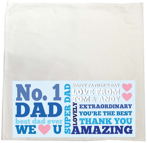 FD08 - No.1 Dad Personalised Tea Towel for amazing dads, stepdads and Grandads