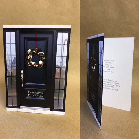 Christmas Cards for Business & Home, Black Door with Wreath & Personal Message