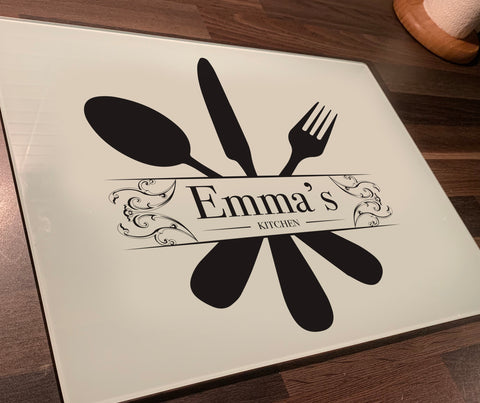 "Personalised ""Kitchen"" Glass Chopping Board, Placemats and Coasters for Family & Friends"
