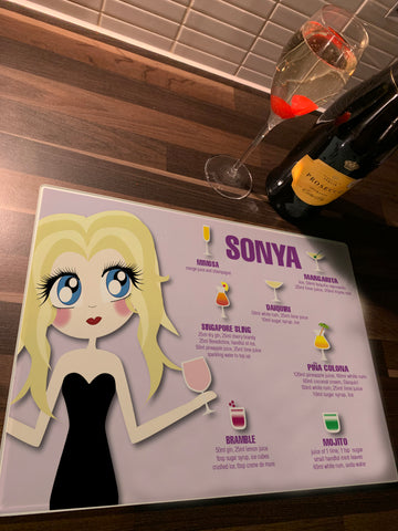 Personalised Cocktail Character Bellas Glass Chopping Board, Placemats and Coasters