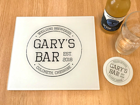 "GCB002 - Personalised Name ""Gary's Bar"" Glass Placemats and Coasters"