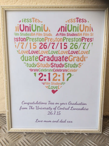 GP02- Graduation Heart Personalised Print