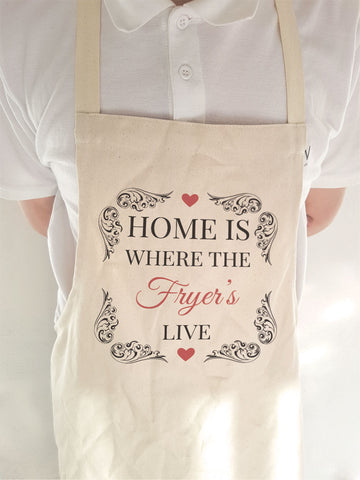 HF01 - Home is Where (Family Name) Live Personalised Cooking Apron