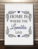 HF01 - Home is Where (Family Name) Live Personalised Canvas Print.