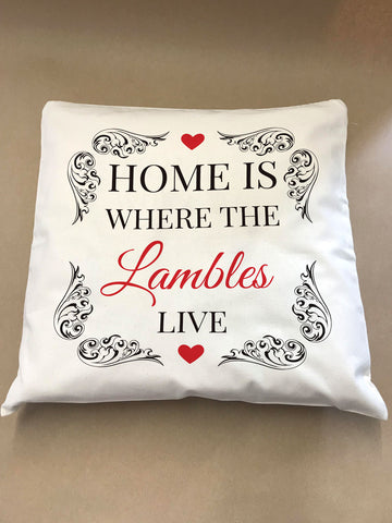 HF01 - Home is Where The Family Name Personalised Cushion Cover