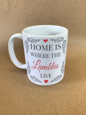 HF01 - Home is Where (Family Name) Live Personalised Mug & White Box