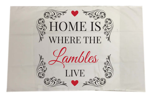 HF01 - Home is Where (Family Name) Live  Personalised White Pillow Case Cover