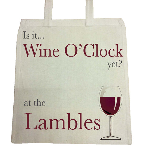 HF05 - Is it Wine O'clock yet? Personalised Canvas Bag for Life