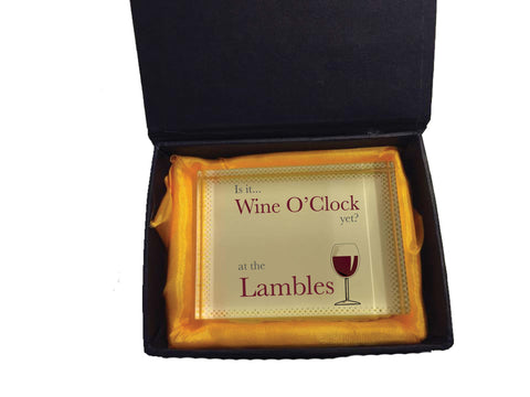 HF05 - Is it Wine O'clock yet? Personalised Crystal Block with Presentation Gift Box