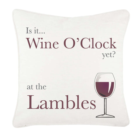 Is it Wine O'clock yet? Personalised canvas cushion cover