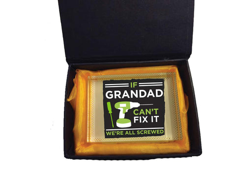 HF09 - If Grandad Can't Fix It, We're Screwed Personalised Crystal Block with Presentation Gift Box