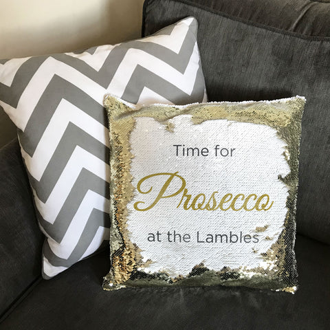 'Time For Prosecco' or any drink Personalised Sequin Cushion Cover