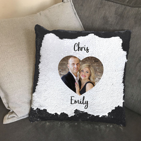 Family Names & Your Photo in Heart Personalised Sequin Cushion Cover