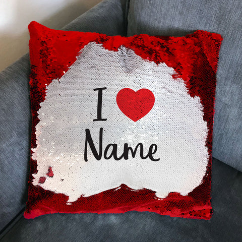 HF22 - I Heart (Name) Personalised Sequin Cushion Cover