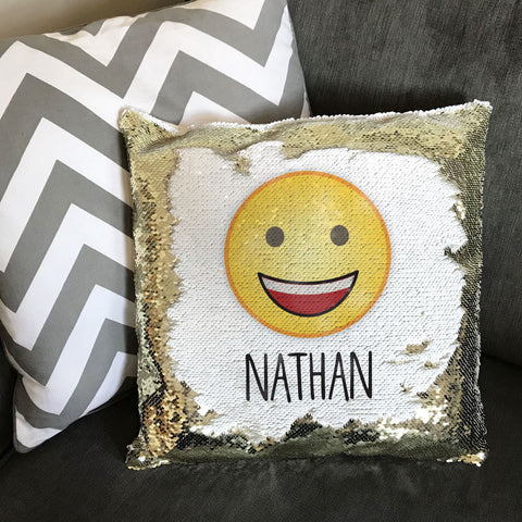 HF23 - Emoji and Boys Name Personalised Sequin Cushion Cover
