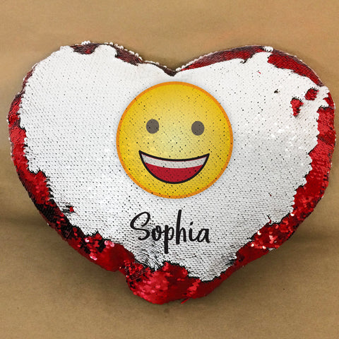 HF23 - Emoji and Name Personalised Heart Shaped Sequin Cushion Cover