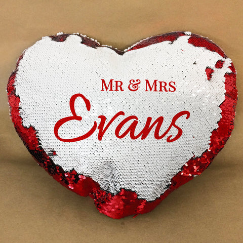 HF24 - Mr & Mrs Personalised Heart Shaped Sequin Cushion Cover