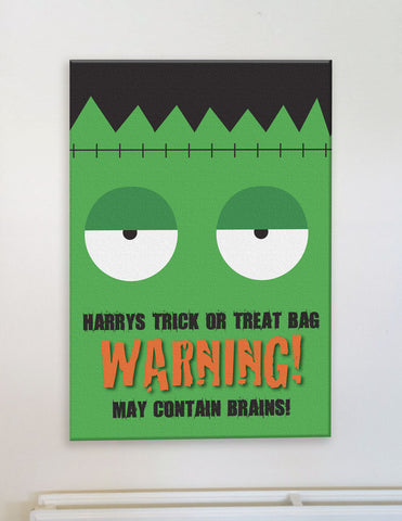 HW002 - Halloween Warning May Eat Brains Canvas Print