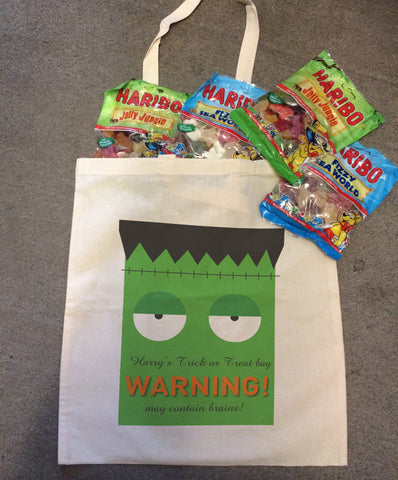 Frankenstein Themed Halloween Warning May Eat Brains Canvas Trick or Treat Bag