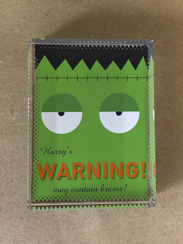 Frankenstein Themed Halloween Warning May Eat Brains Personalised Crystal Block with Gift Box