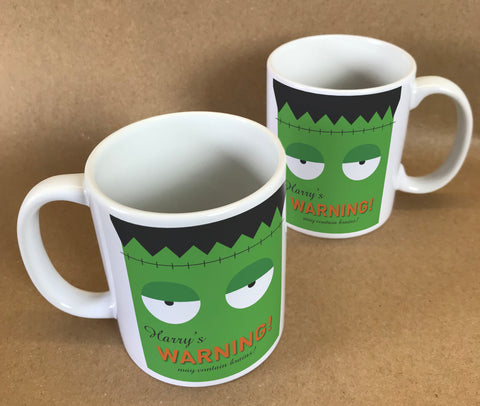 Frankenstein Themed Halloween Warning May Eat Brains Personalised Mug & White Gift Box