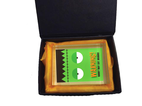 HW002 - Halloween Warning May Eat Brains Personalised Crystal Block with Gift Box